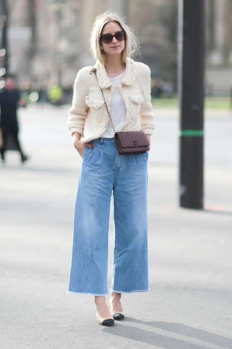 Стильный твидовый жакет от Коко Шанель, модные кюлоты — эффектный и современный образ. /Фото: yandex.fr