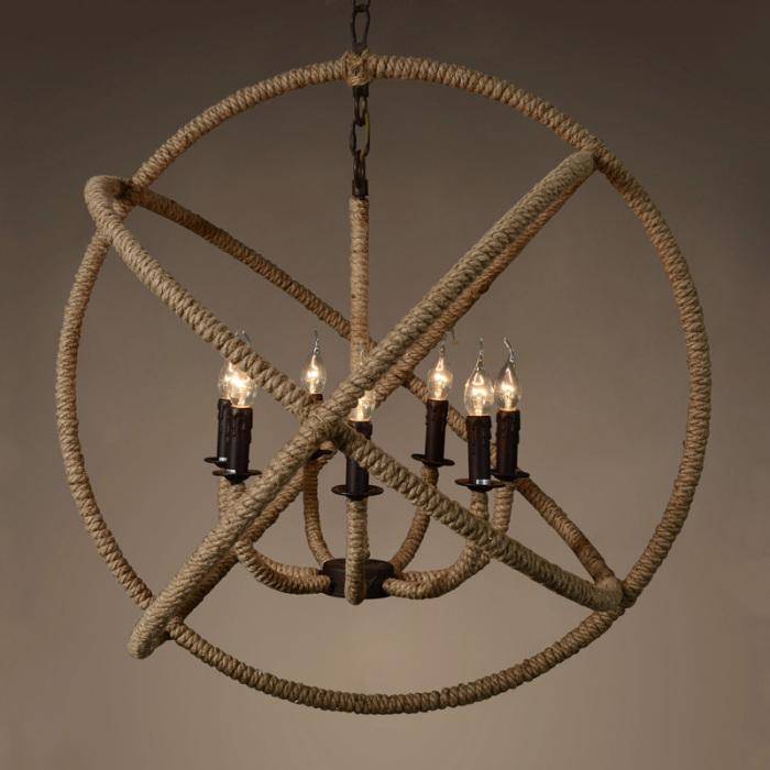 Металлическая основа светильника обмотана веревкой. /Фото: sc02.alicdn.com