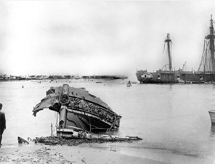 Бухта Апиа после нашествия циклона, март 1889 года. /Фото: tahiti-infos.com