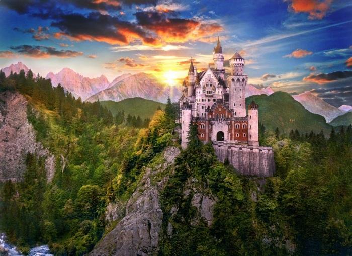 Нойшванштайн расположен в живописном месте с панорамными видами на Альпы, долину и озера - поистине
