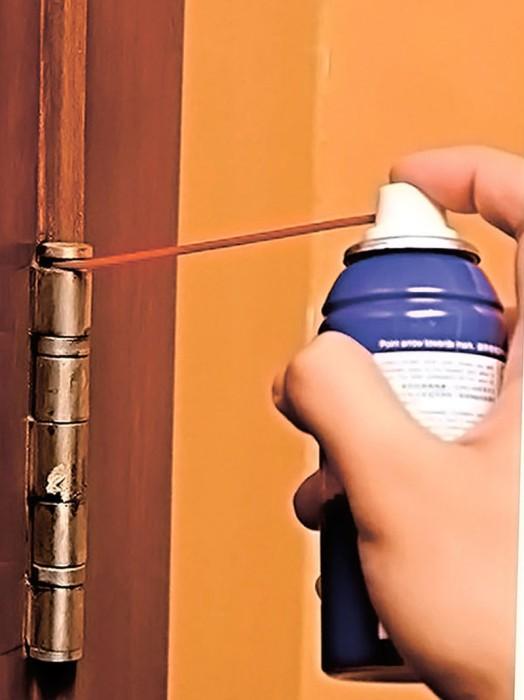 WD-40 отлично справляется со скрипучей дверью. /Фото: remontyes.ru
