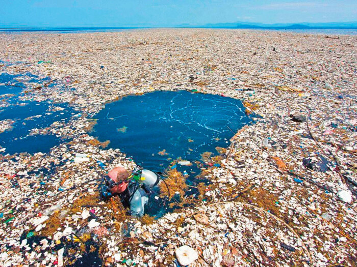 Часть большого мусорного скопления в Тихом океане. /Фото: b.parsons.edu
