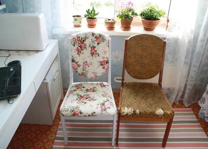 Старые стулья за счет новой обивки могут гармонично вписаться в интерьер любой комнаты. /Фото: ireland.apollo.olxcdn.com
