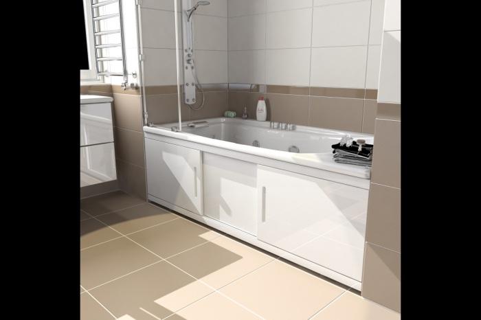 Экран под ванной закроет систему хранения и завершит дизайн интерьера. /Фото: grandsanteh.by