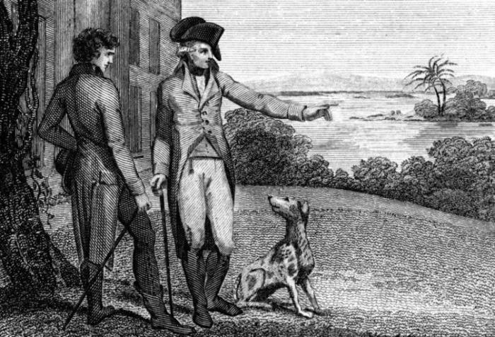 Гравюра, изображающая Джорджа Вашингтона с его собакой. /Фото: bloximages.chicago2.vip.townnews.com
