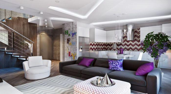 Яркие акценты в виде букв, красочного дивана и необычного растения создают уют и особый шарм. /Фото: www.remont-f.ru
