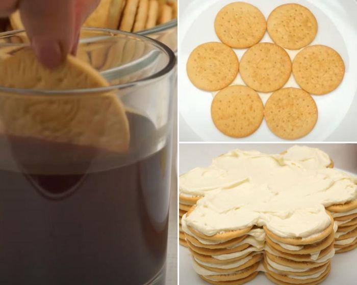 Печенье макают в кофе и выкладывают на блюдо, промазывая каждый слой кремом. /Фото: youtube.com/watch?v=GCLv2ilJhfQ&list=PL8Jo7jcoC1Zm348jXRyB1Y_8fQ8TNTgR1&index=27&t=0s