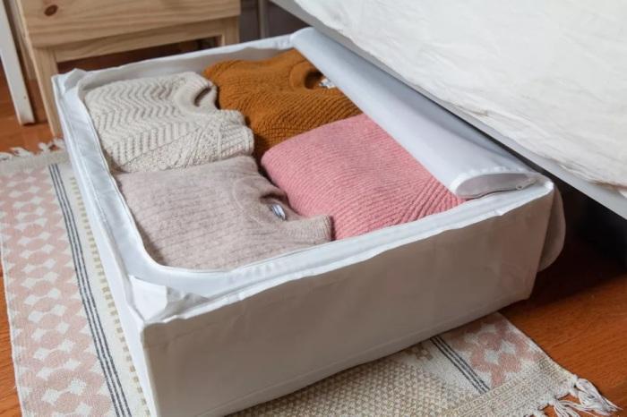 Зимние вещи можно сложить в чехол и убрать под кровать. /Фото: thespruce.com