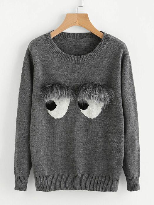 Глаза, которые можно добавить на свитер с помощью двух кусочков меха и небольшого количества ткани черного и белого цвета. /Фото: i.pinimg.com