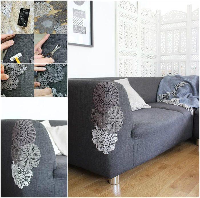 Нежное оформление мебели ажурной вязкой. /Фото: takprosto.cc