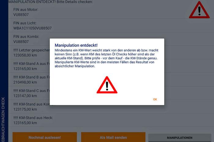 Если приложение обнаружит несоответствие пробега на одометре с показателями различных датчиков, на экране появится соответствующее предупреждения.