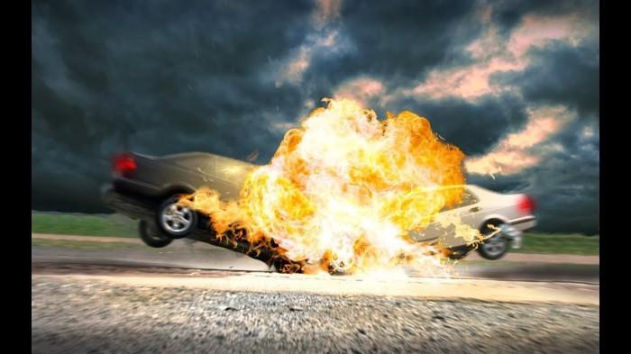 От одного только столкновения машина не взорвется – факт. | Фото: i.ytimg.com/vi/