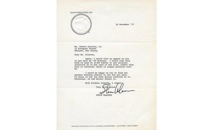 Письмо от Стива МакКуина Бобу Кирнану с предложением о покупке «Мустанга». | Фото: caranddriver.com