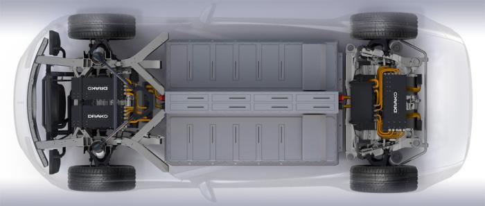 Автомобиль имеет четыре электромотора - по одному на каждое колесо.