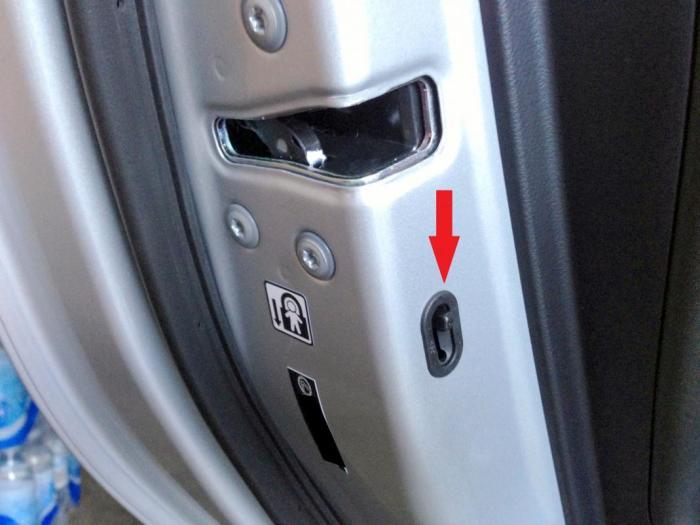 Практически во всех автомобилях в торце задних установлен маленький рычажок.
