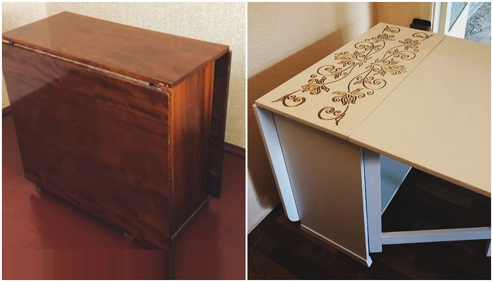 Еще одно прекрасное превращение старого стола в оригинальный предмет мебели.