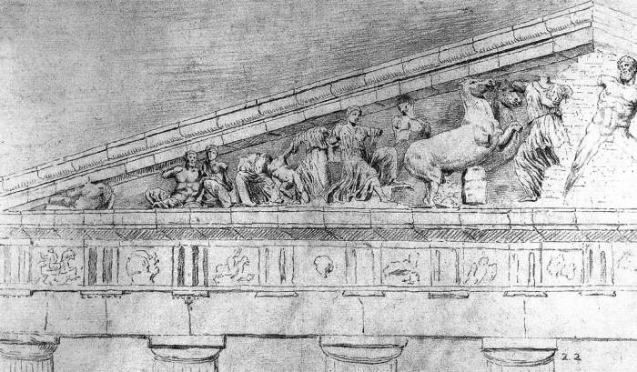 Фронтон Парфенона (рисунки Жака Каррея). | Фото: ru.wikipedia.org.