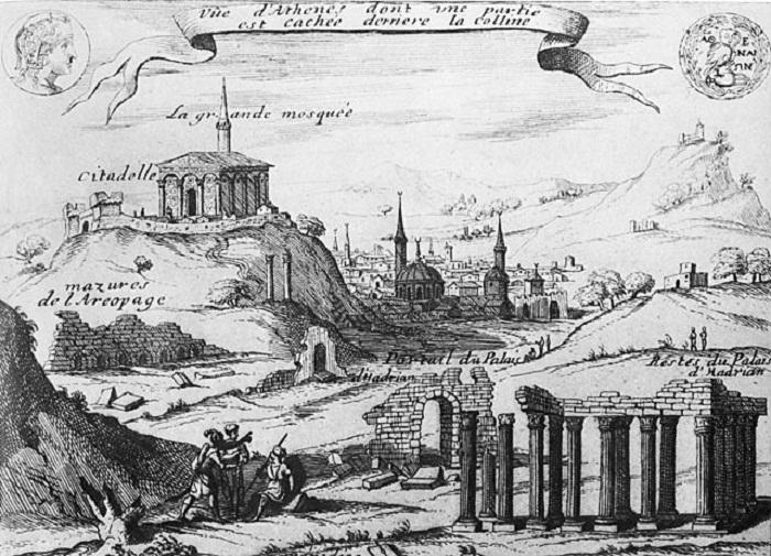 Рисунок неизвестного венецианского автора 1672—1676 гг. (Парфенон, Греция). | Фото: ru.wikipedia.org.