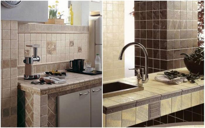 Из керамической плитки можно сделать не только столешницу, но и весь кухонный гарнитур.