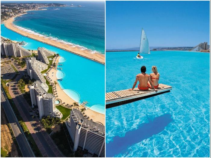 Курорт San Alfonso del Mar и его гигантский бассейн стал самым популярным местом отдыха в Чили (Альгарробо).