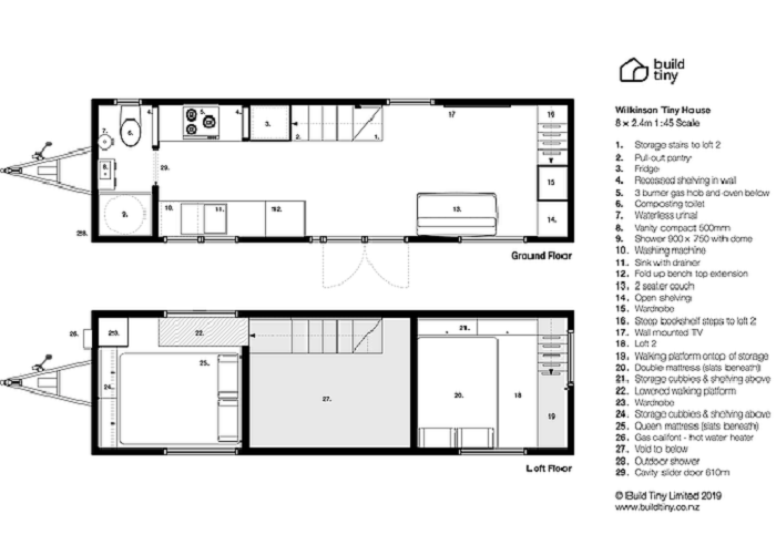 План-чертеж крошечного дома на колесах «Home Haven». | Фото: buildtiny.co.nz/ © «Build Tiny».