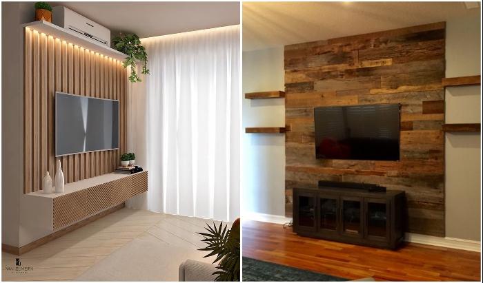 Наборные стеновые панели или рейки из натурального дерева привнесут нотку особенного тепла и уюта в дизайн интерьера.