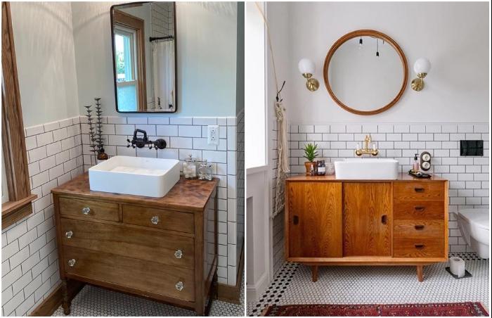 Если позволяют габариты ванной комнаты, можно использовать даже комод или большую тумбу.