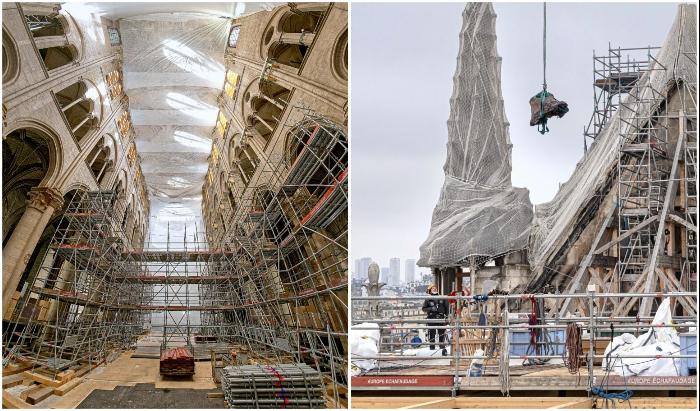 Проведены все подготовительные работы и теперь реставрация Notre-Dame de Paris выходит на новый уровень.