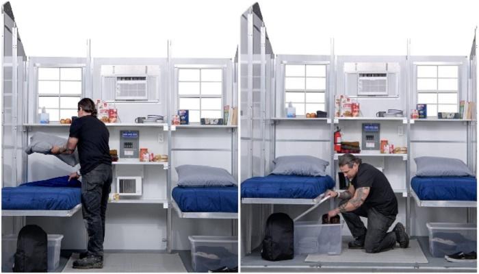 В домике помимо спального места имеются встроенный стеллаж и контейнеры для хранения вещей (Pallet-64).