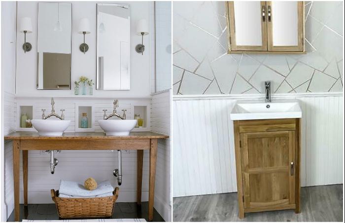 Под раковину в ванной комнате можно пристроить и обеденный стол, и крошечную тумбочку.