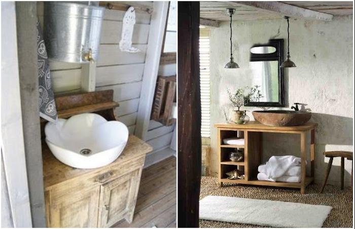 Нестандартное оформление ванной комнаты с использованием предметов мебели и экстравагантных раковин.
