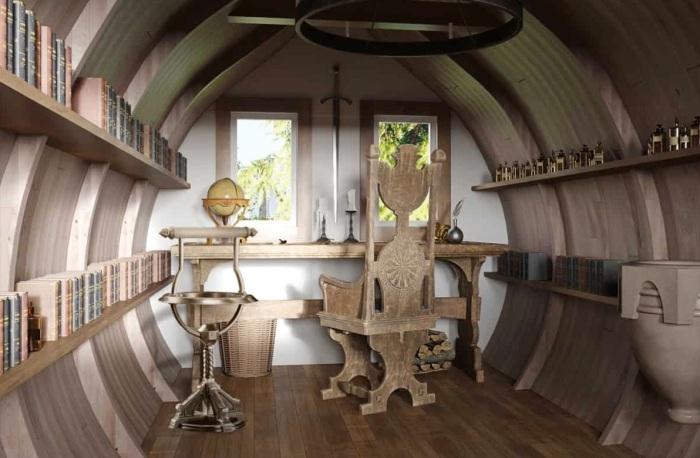 Магическую обстановку Dumbledore's office можно создать и на таком крошечном пространстве.   Фото: boredpanda.com.