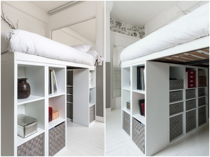 Спальня-гардеробная с помощью модулей Ikea.