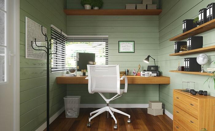 В самом кабинете ничего лишнего, только папки с бумагами, компьютер и удобное компьютерное кресло (дизайн-проект Michael Scott's office).   Фото: revistacasaejardim.globo.com.