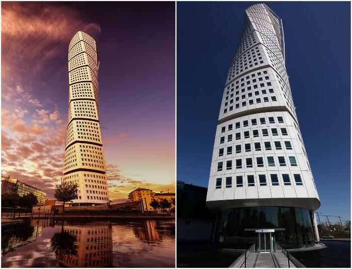 Жилой небоскреб Turning Torso от Сантьяго Калатравы стал впечатляющим украшением горизонта Мальмё (Швеция).