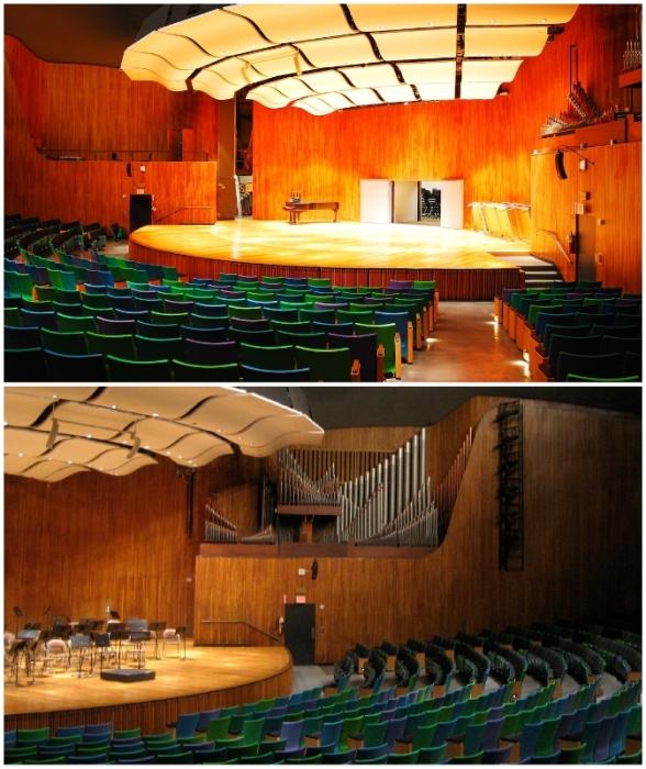Главный зрительный зал Kresge Auditorium рассчитан на 1226 человек, в нем проходят масштабные мероприятия, концерты и общие лекции (штат Массачусетс, США).
