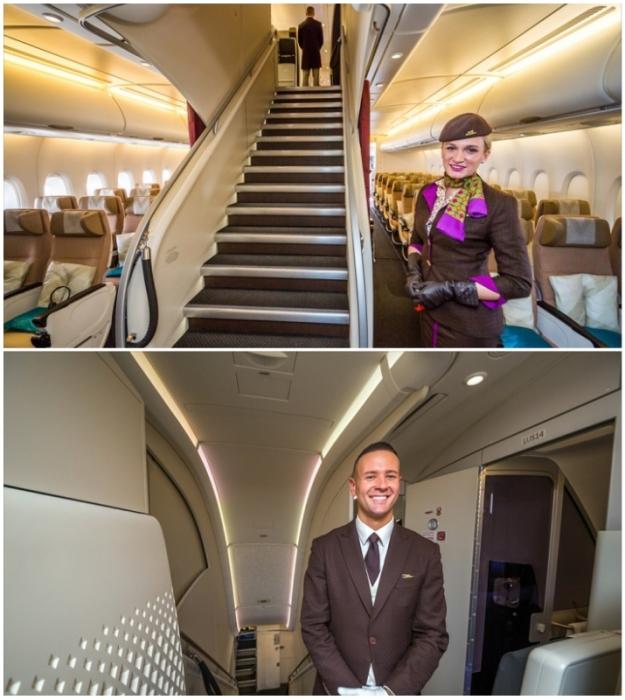 Бортпроводники одинаково приветливы со всеми пассажирами авиалайнера (Airbus А-380 Etihad).