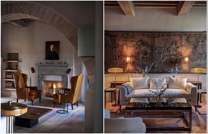 Гармоничное сочетание старинной отделки с современными предметами мебели и аксессуарами (Castello Di Reschio Hotel, Италия).