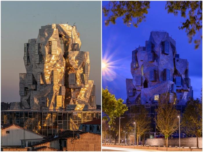 Благодаря стальной оболочке, изменяющей цвет, высотка выглядит более динамичной и эффектной (Parc des Ateliers, Франция).