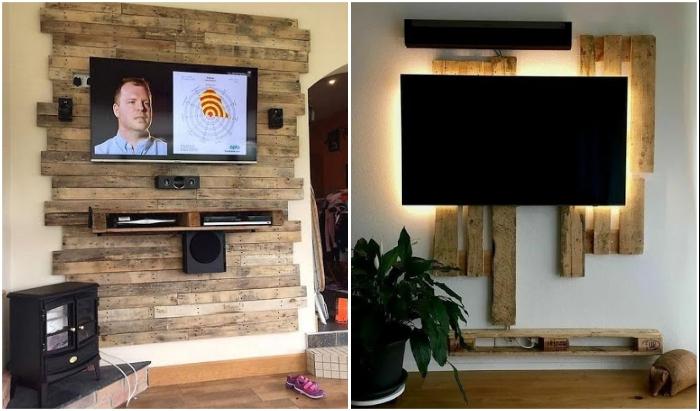 Строительные поддоны и грубые необработанные доски также могут вдохновить на создание неординарной панели под телевизор.