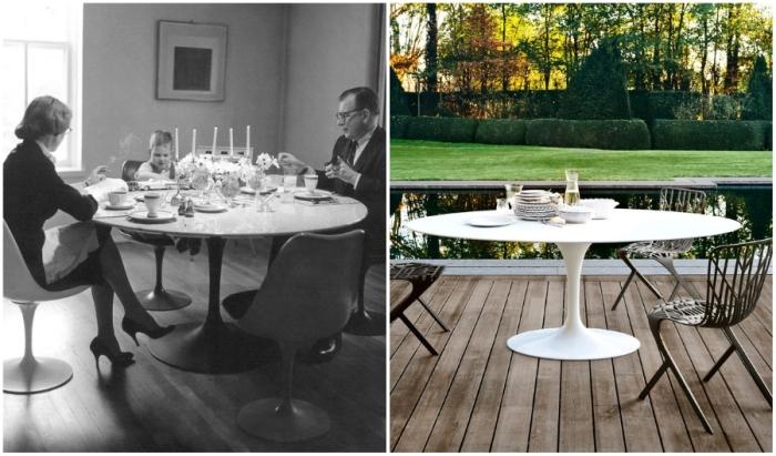 Оригинальная модель стола Saarinen Tulip от гениального дизайнера Ээро Сааринена одинаково хорошо смотрится и на открытой террасе, и в гостиной (сам творец с женой Элейн и сыном Имзом).