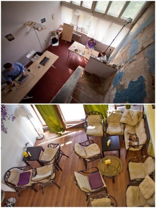 До реконструкции дома многие квартиры использовались в качестве офисов или мини-кафе («Дом Наркомфина»).
