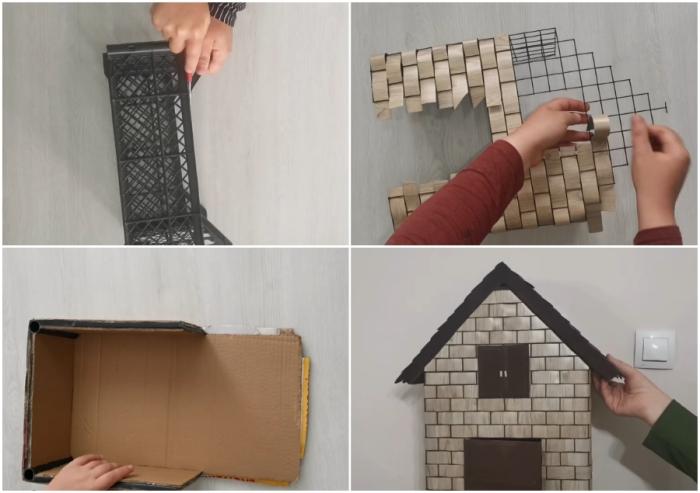 Из вторсырья и остатков материалов предприимчивому мастеру удалось сделать интересный домик для пакетов.