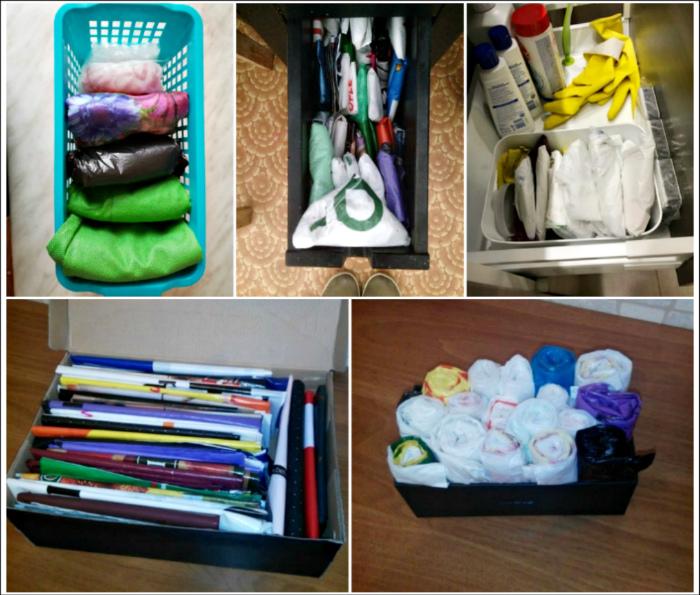 Элементарные способы хранения пакетов, которые позволят сэкономить место и навести порядок. | Фото: remontkit.ru.