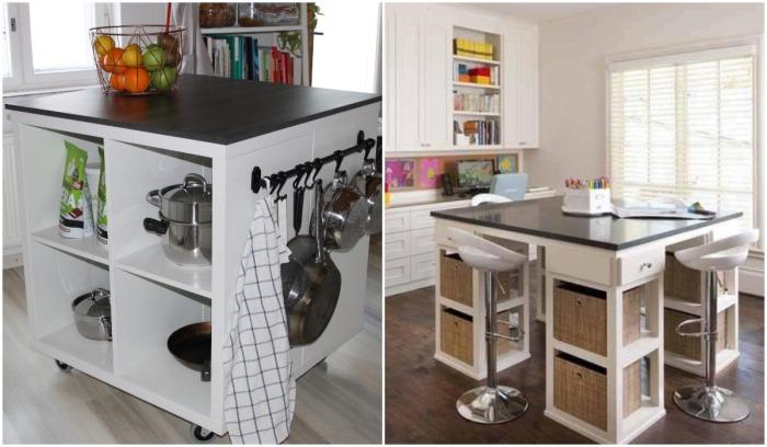 И стеллажных систем Ikea можно сделать и кухонный остров.