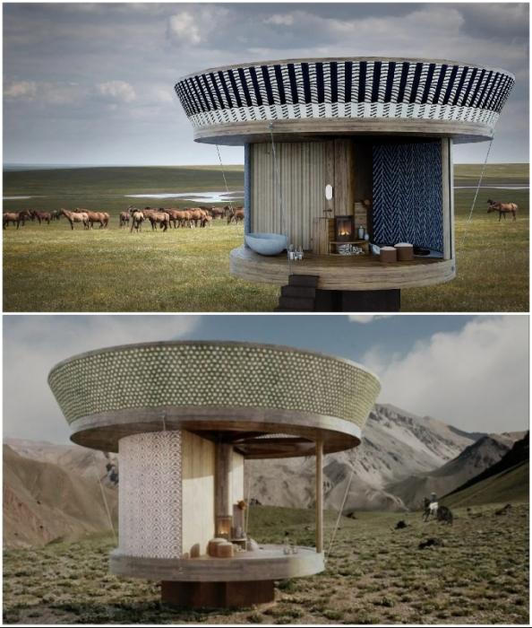 Домик можно изготавливать из материалов той местности, в которой будет установлен (концепт Casa Ojala').