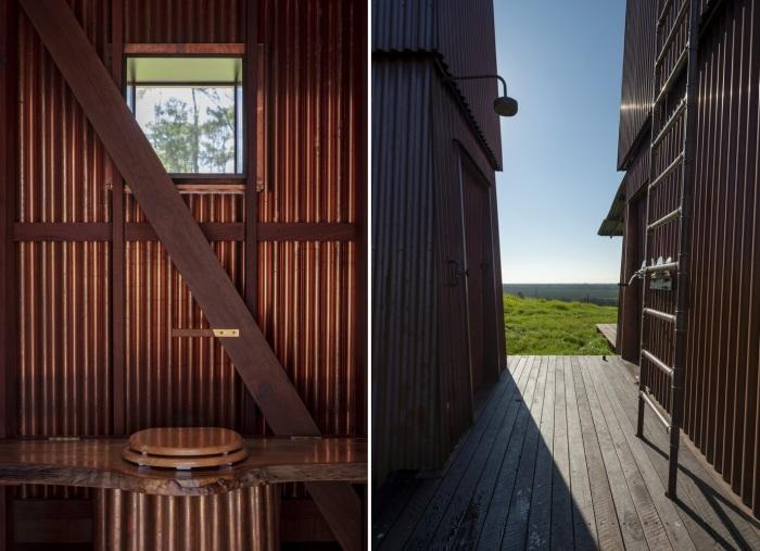Рядом с домиком имеется уличный душ и ванная комната в отдельной башне (Permanent Camping-2, Австралия).