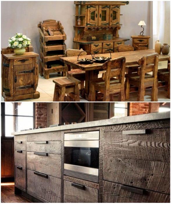 Массивное необработанное дерево оригинально смотрится в кухне, оформленной в деревенском стиле.