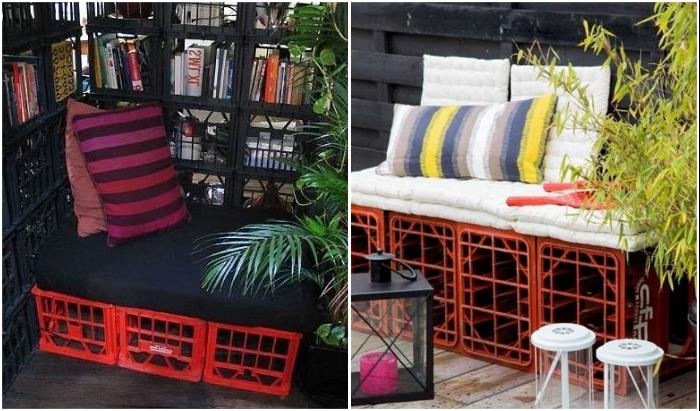 Из пластиковых ящиков может получиться прекрасная зона отдыха, стоит лишь пристроить веселенький матрас или диванные подушки.
