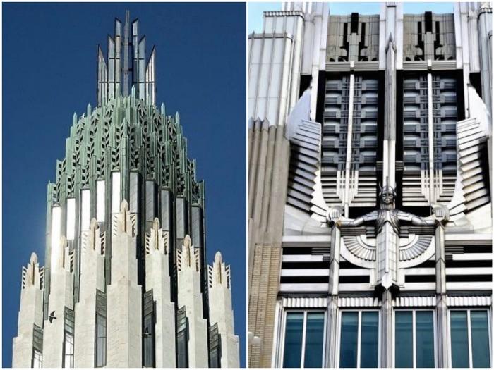 Впечатляющие небоскребы в стиле ар-деко на улицах Манхэттена (Нью-Йорк, США).
